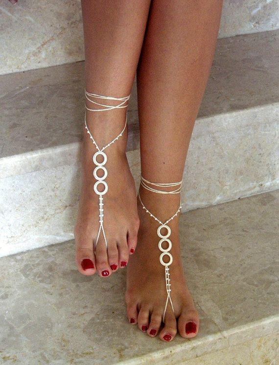 ivoryBarefoot Sandals bead  barefoot sandles  by SibelDesign, $14.90 @@@.....http://www.pinterest.com/queend65/diamond-feet/