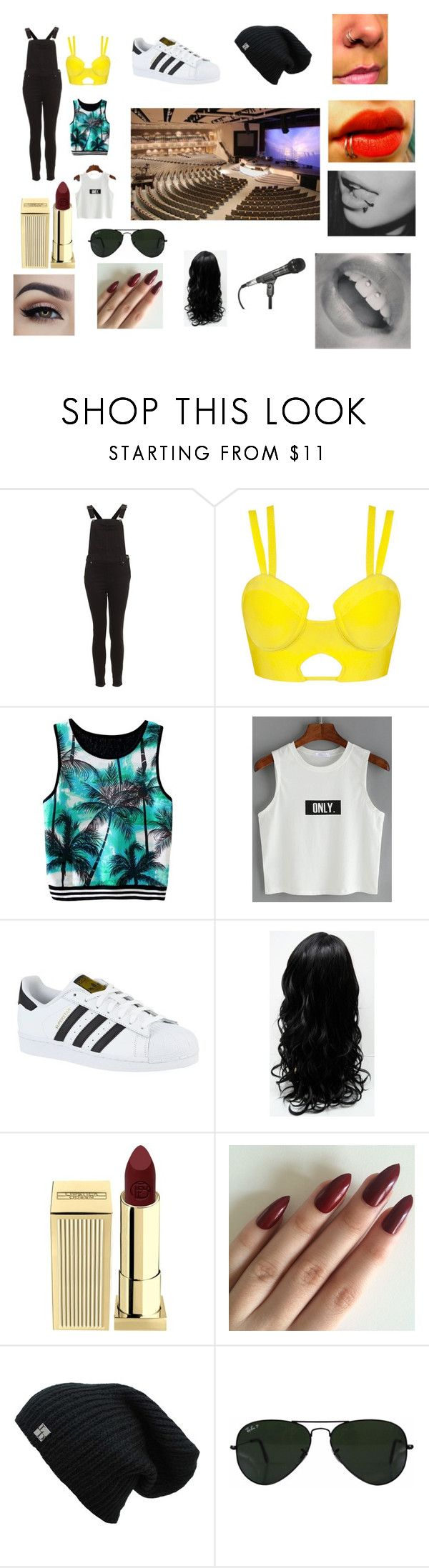 """No scrubs"" by natykpop ❤ liked on Polyvore featuring adidas, Lipstick Queen and Ray-Ban"