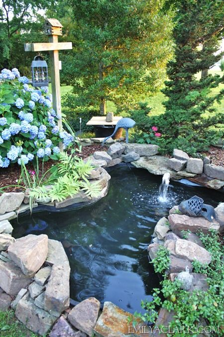 Backyard pond with landscaping ponds pinterest for Outdoor koi pond