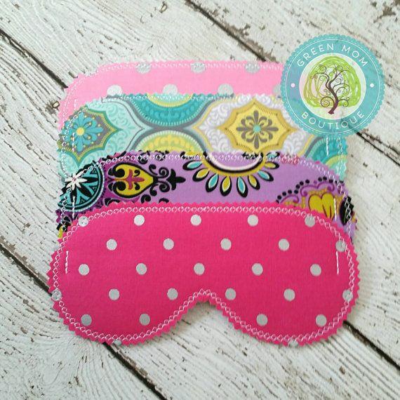 Set of 4 Beauty Sleep Masks Custom Made for Little Girl's Slumber Party Sleepover Party Favors Pink/Polka Dot/Chevron/Turquoise/Owl/Lual/Spa