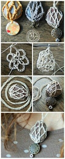 Crochet necklace with a rock, button and bead