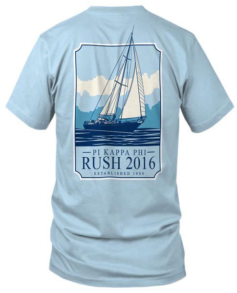 Pi Kappa Phi   Rush Tee   Sailboat   Nautical Fraternity Tee