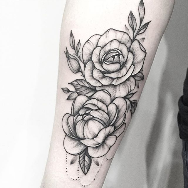 floral tattoo  peony. Anna bravo                                                                                                                                                                                 More