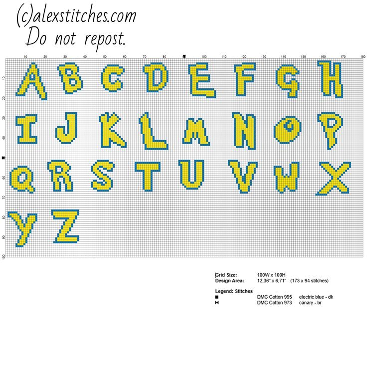 Cross stitch alphabet Pokemon font uppercase letters free cross stitch pattern made with PcStitch software