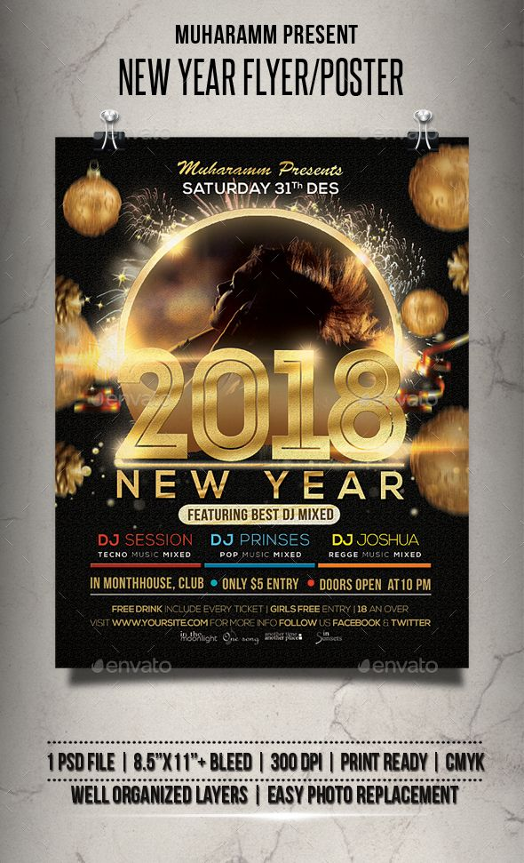 Best  New Year FlyersDesigns  Party Posters Images On