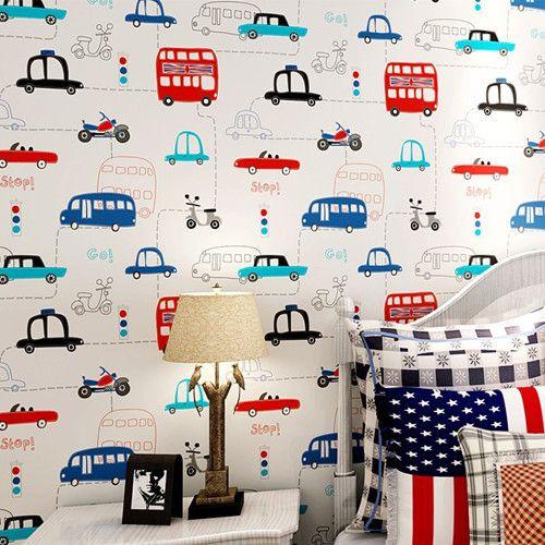Cartoon Cars papel de parede infantil Wallpaper for Boys Kids Room Mural Child 10m DZK27 US $42.00