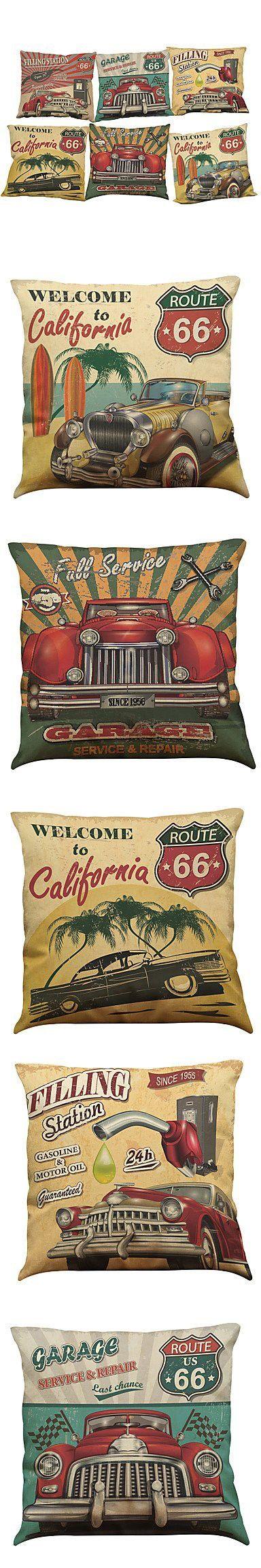 RainbowElk Set of 6 Retro car pattern Linen Pillowcase Sofa Home Decor Cushion Cover (1818inch) , Pillow Insert:No