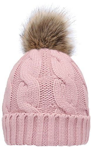 b08bda68cd9 NEOSAN Women s Winter Ribbed Knit Faux Fur Pompoms Chunky Lined Beanie Hats  Twist Light Pink deals  sale  Christmas