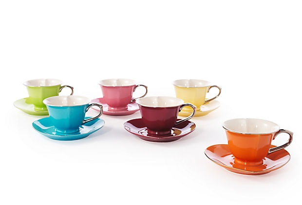 Hear Cup and Saucer - I love these whimsical cups & saucers with the bold, vibrant colors and sleek platinum handles.  So cool!: Heart Teacups, Saucers Colorful, S 6 Inside, Products