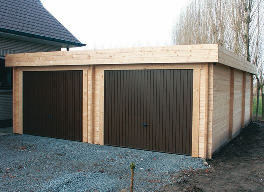 Double Timber Garage. Two Single Doors. Flat Roof.