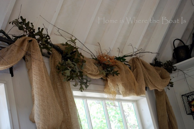 landscaping burlap window treatment