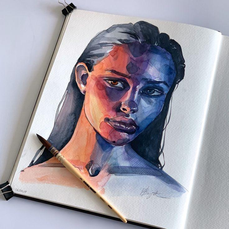 Watercolour portrait by Polina Bright