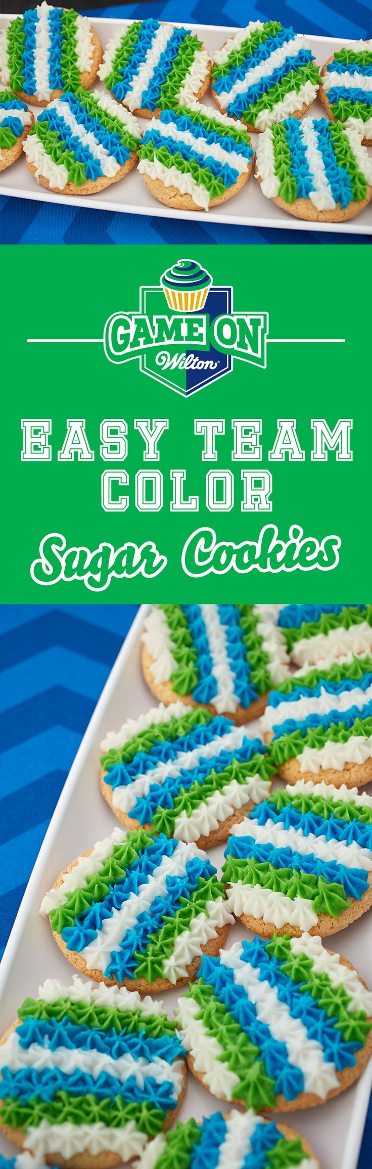 Easy Team Color Sugar Cookies Recipe - Customized color on cookies has never been easier! Learn how to make this colorful and fun cookie recipe using these easy icing pouches to create bright and bold colors to cheer on your favorite professional football, basketball or youth sports team! Great for at-home game time treats or to bring to the tailgate party for the big game.