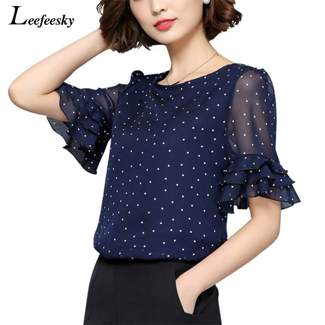 Price-8$       XXXXXL Women Blouses 2017 Summer Short Sleeve Chiffon Blouse Shirt Polka Dot Women Shirts Plus size Women Clothing Ladies Tops