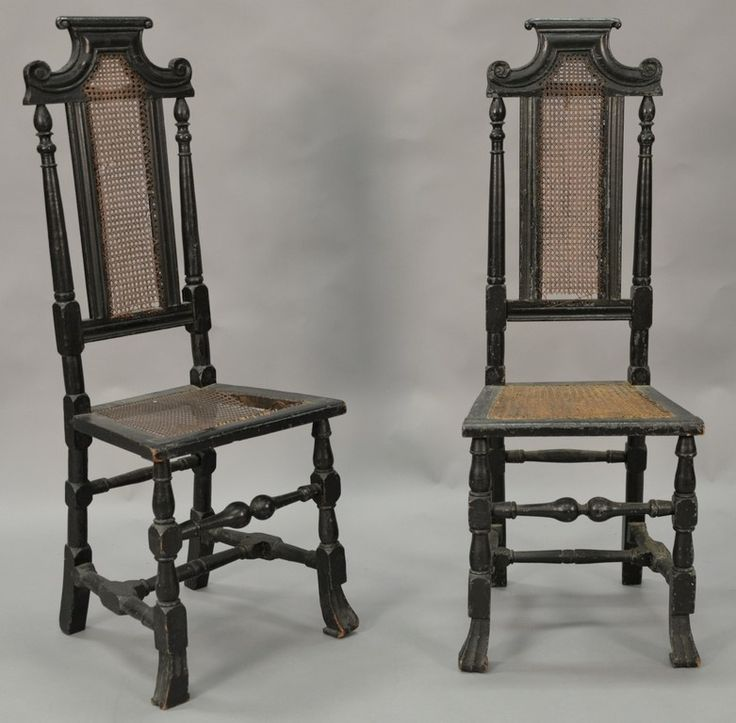 Pair of William and Mary side chairs having carved and caned backs and caned seats set on block and turned legs and stretchers ending in Spanish feet ~ Realized price $2,880.00  #nadeausauction