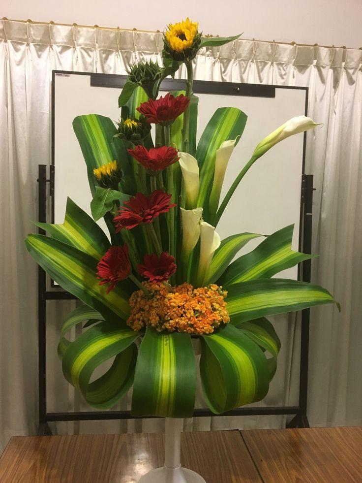 tropical flower arrangements for church