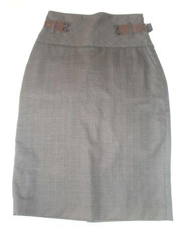 Falda recta gris de Mango
