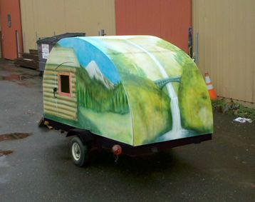 First off, I originally documented this on my arts and crafts blog, Make It With Jason. I wanted to build a teardrop trailer that I could take camping around the Pacific Northwest, where I live. We have amazing scenes of beauty there, like Mt. Hood, and Multnomah Falls, so I decided I also wanted to paint a mural all the way around it. All in all, I spent about $500 total on this project (including a used $120 Harbor Freight utility trailer) , and this teardrop trailer is about as...