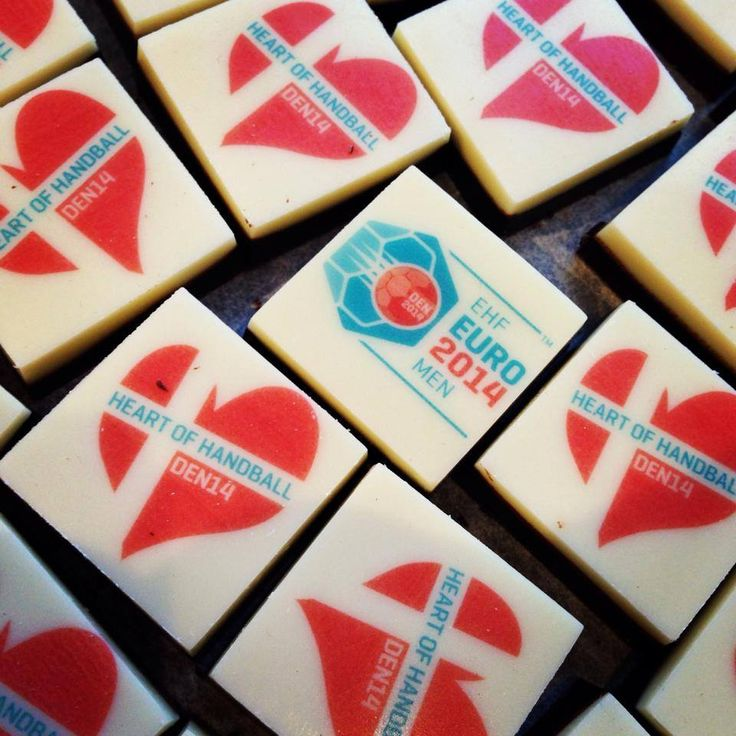 Handmade custom logo chocolates made for the Danish national mens Handball team during to the build up for the European champions 2014!