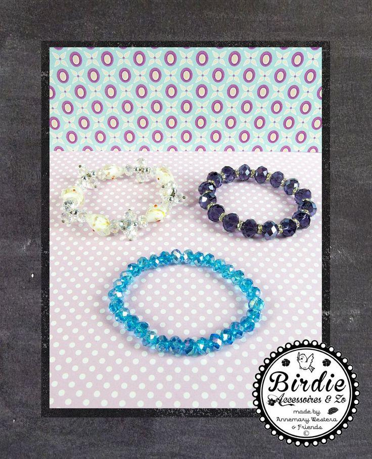 3 Stretch Armbanden Australian kristal, turquoise, paars, wit/doorzichtig via Birdie By AnneMary Westera