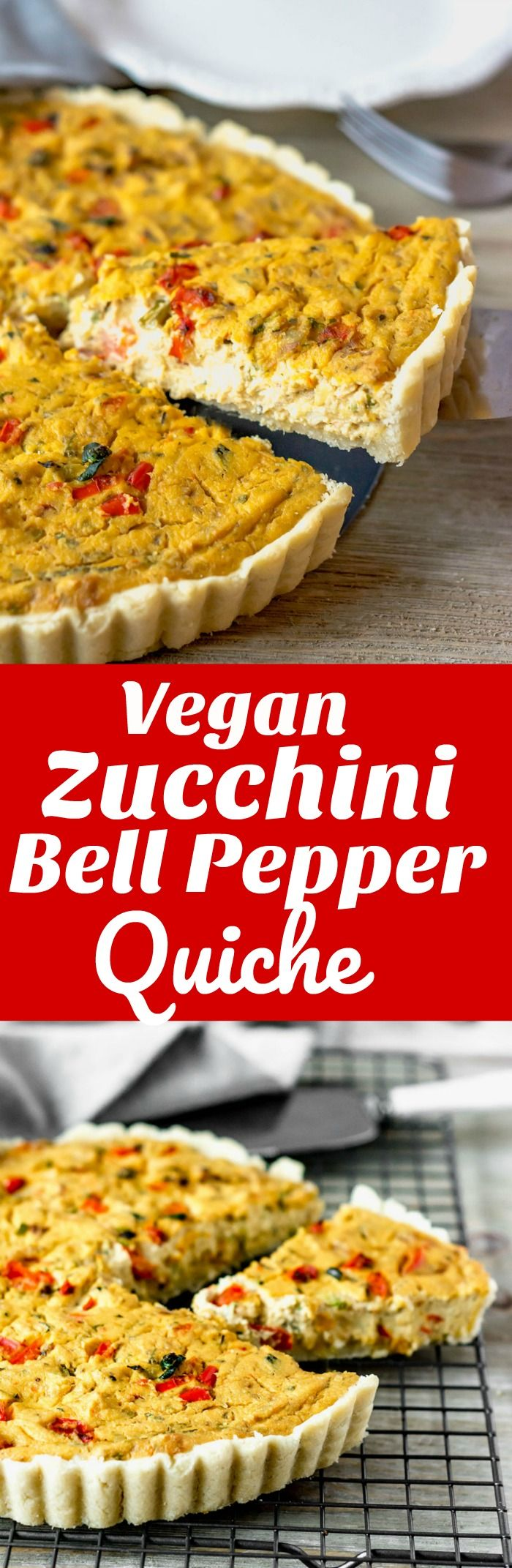 Vegan Zucchini Bell Pepper Tofu Quiche, full of flavor with a melt-your-mouth hit. Perfect for breakfast, brunch or dinner! #vegan #gluten-free #quiche