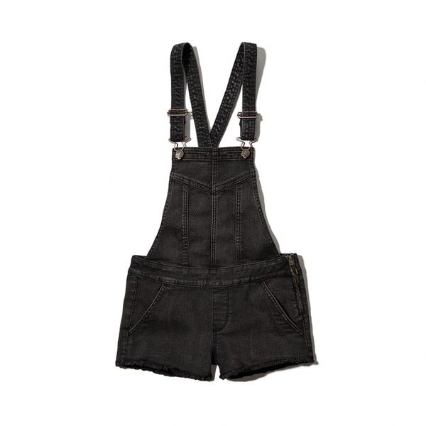 Abercrombie & Fitch Shortalls featuring polyvore, fashion, clothing, overalls, shorts, bottoms, black, short overalls, short bib overalls and abercrombie & fitch