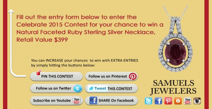 I just entered the Samuels Jewelers' 'Celebrate 2015 Contest. Click this Pin to see how to enter to win a Natural Faceted Ruby Sterling Silver Necklace!