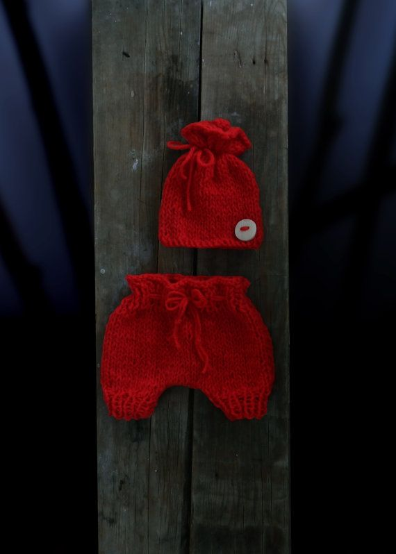 Red Baby Bloomers and Hat Hand Knit Baby by GabriCollection