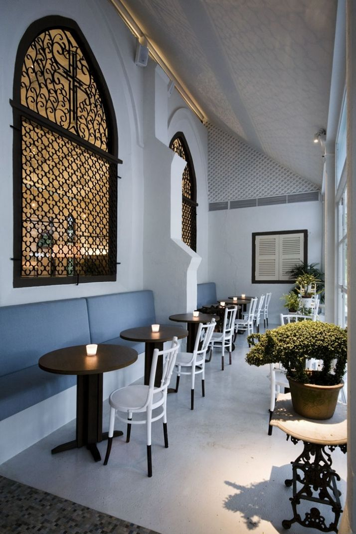 The white rabbit restaurant & bar housed in a restored old chapel, in Singapore.