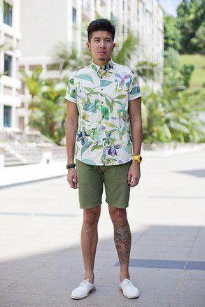 シンガポール Hume Park, SINGAPORE. Yong Ping Loo, art director. River Island top, G-Shock watch, Dior Homme shades, Topman shorts, Ask the Missus shoes. 【スライドショー】アジアの街角ファッションスナップ―シンガポール、メルボルンなど