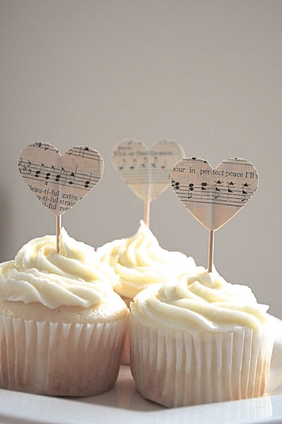Vintage Music Heart Cupcake Picks, made from vintage music pages on Etsy, $3.60