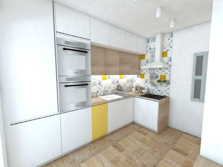 Biela drevena kuchyňa so žltým akcentom a obkladom vo vidieckom štýle