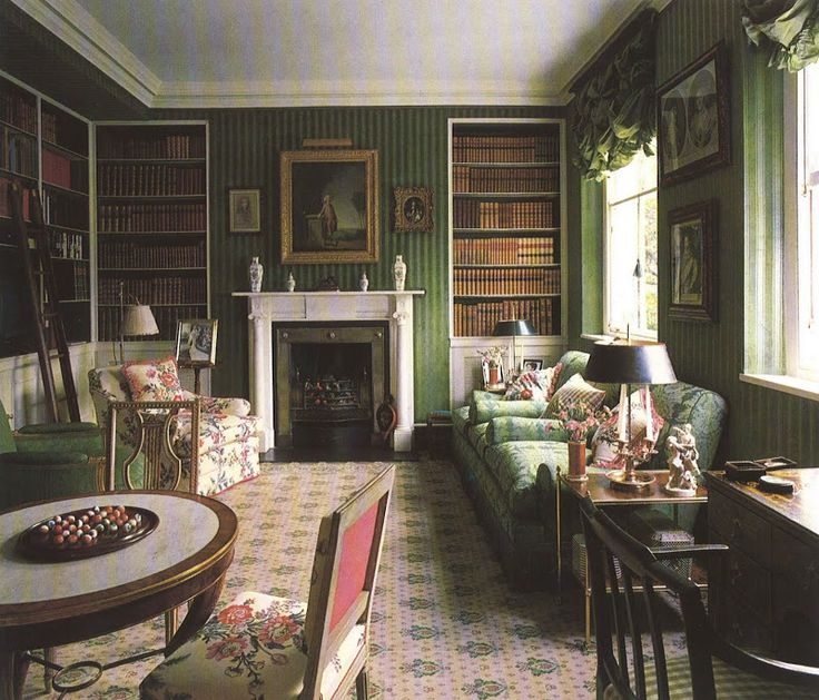 Colefax Amp Fowler Library S Covered Walls In A Green