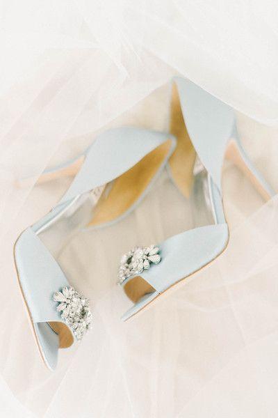 """Something Blue"" wedding idea - Pale blue @badgleymischka satin pumps with jewels {Elizabeth Fogarty}"