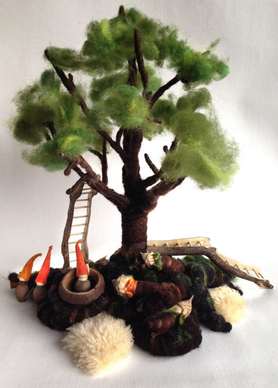 Felted Tree Waldorf 3 gnomes 3 rootchild and 2 ladder OOAK by KoesterKindje