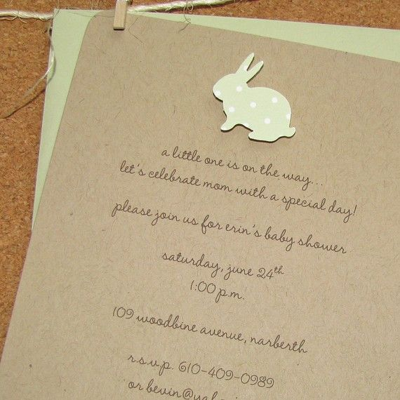 Gender Neutral Baby Bunny Baby Shower Invitation  Celery #6