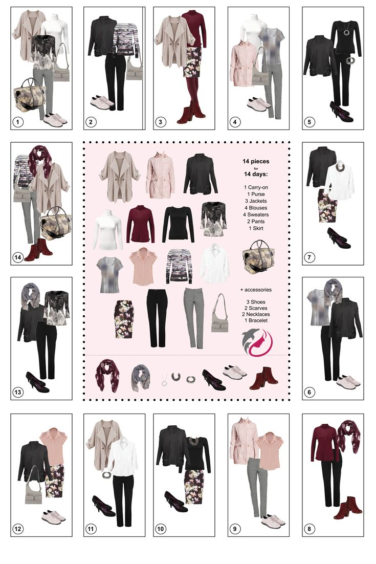 Wardrobe for a 2 week fall vacation in Europe. Mix & Match 14 pieces + accessories . Include an unstructured  coat, raincoat, lightweight black wrap jacket, 2 turtlenecks - 1 lightweight ivory, 1 heavier burgundy, black long sleeve t-shirt,dressy cardigan,printed t-shirt, soft blouse, long sleeve knit top, Iconic non-wrinkle white blouse, printed knit pencil skirt, black pants, grey pants, black pumps, burgundy booties, comfy Cole Haan wingtip sneakers, carry-on bag, cross-body hand bag.
