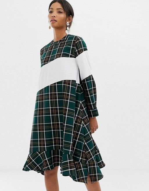 e6d5d967ebb Ghospell oversized smock dress with contrast stripe in check in 2019 ...