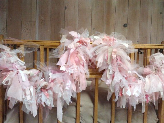 Fabric Garland Tule, Chiffon, Cotton Burlap, Lace, Cotton Rustic Shabby chic Party Decoration 6 foot rag garland via Etsy