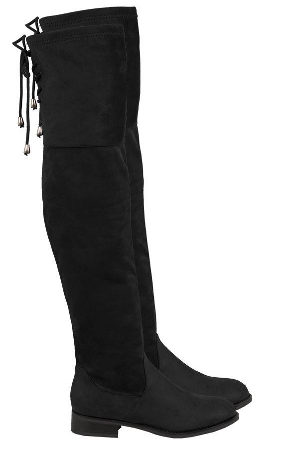 Overknee Suede Boots Black   The Musthaves Overknee laarzen zwart shop je hier goedkoop voor dames. Lange suede laarzen, hoge laarzen met vetersluiting >