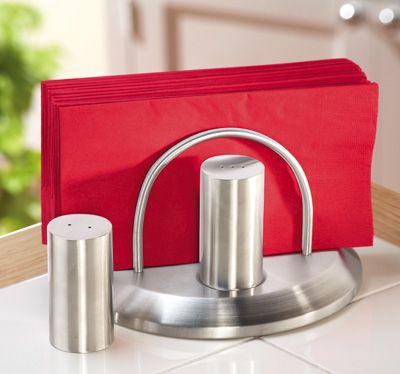 Stainless Contemporary Napkin Holder w/ S & P Shaker Set