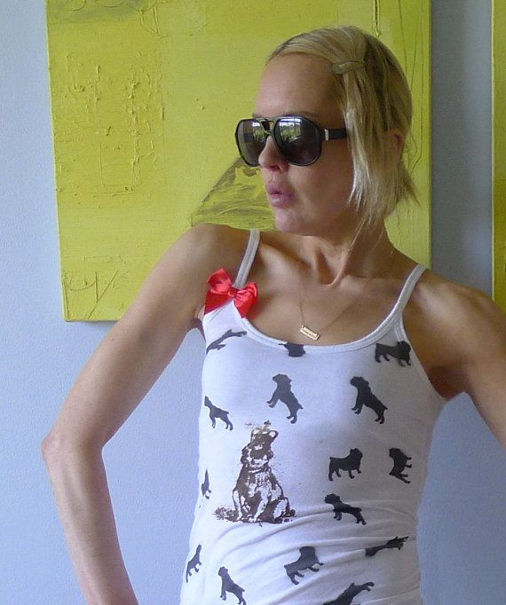 Silkscreened white 100% Cotton tanktop // Brown, Black and Gold Bulldog images // Womens MED via Etsy