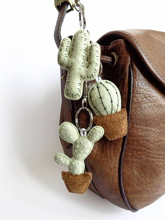 ad: W-O-W , the best gift for plantlovers #trendy #urbanjungle  #cactuslover   #Cactus keychain banana ice-cream pastel fabric felt embroidery