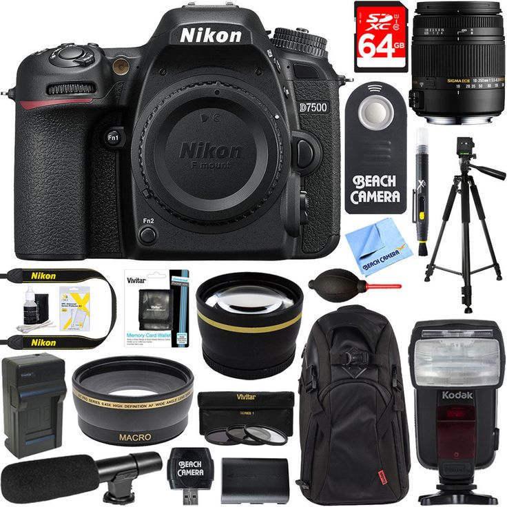 Nikon D7500 20.9MP Digital SLR Camera Body  18-250mm Macro Lens Microphone Kit