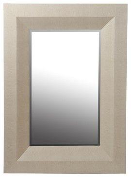 "Privilege International 40"" Shagreen Wall Mirror, Beige transitional-wall-mirrors"