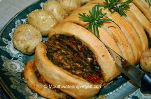 Lentil, Mushroom, Spinach & Spicy Nut Roulade (Your Perfect Sunday Roast) « Mouthwatering Vegan Recipes™