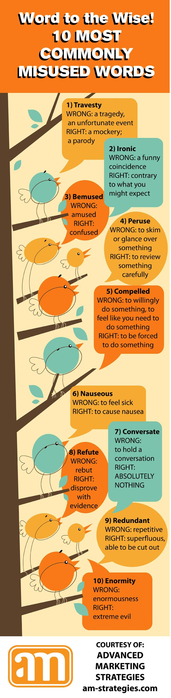10 commonly misused words and cute birdies to make ignorance of them less painful.. I use a lot of these wrong. Ahhhh!