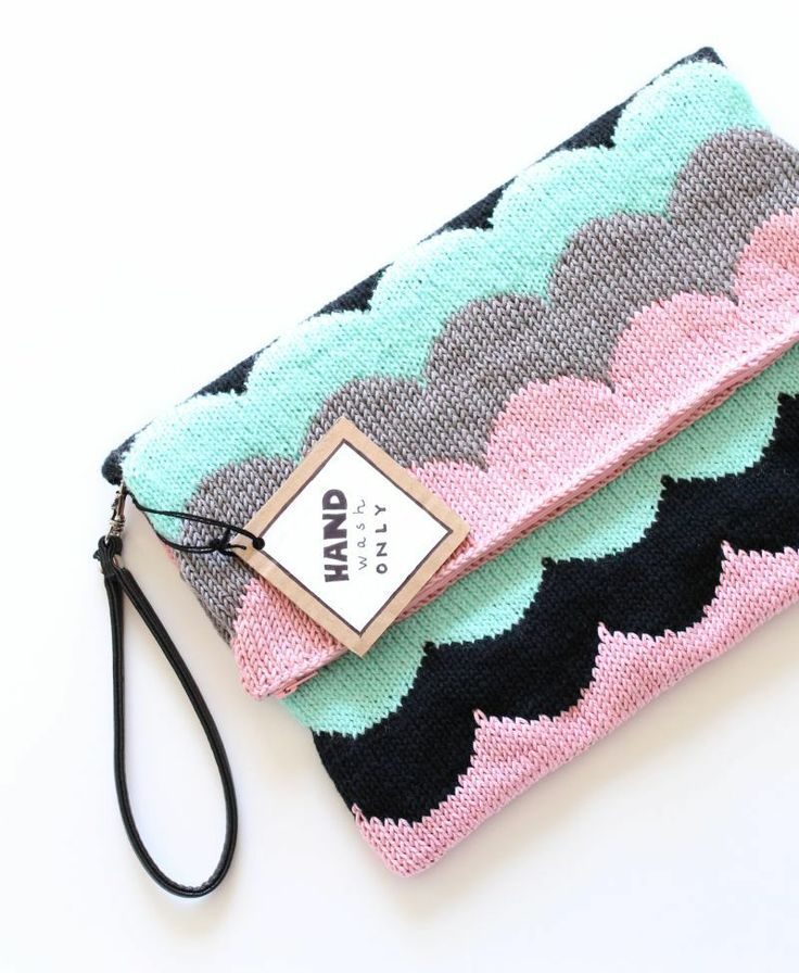 knitted scallop clutch bag
