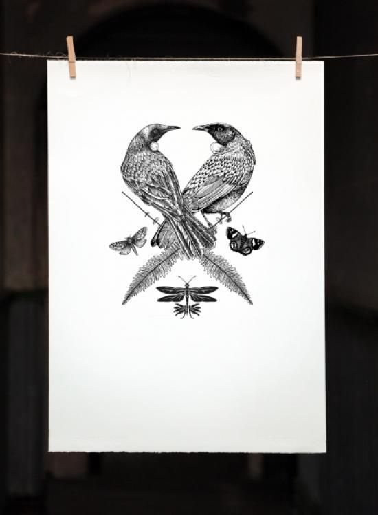 TUI CREST | Screenprint: 500mm x 700mm $350 Edition of 50 | Flox.co.nz