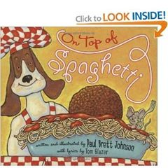 Letter S ideas with On Top of Spaghetti book, yarn and pom poms for spaghetti and meatballs